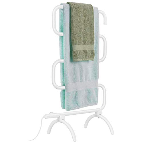 Tangkula 5-Bar Bath Towel Warmer Free Standing & Wall Mounted 36″ Towel Heater for Home Bathroom Stable Metal Frame Space Saving Towel Hanger 100W Portable Drying Rack (23″ L x 13.0″ W x 36″ H)