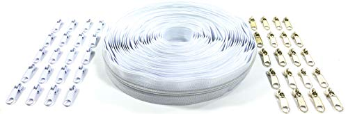 Nuburi - Zipper by The Yard - 10 Yards of Make Your Own Zipper - 45 Zipper Pulls (White)