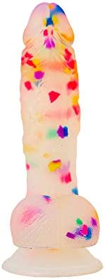"""Pure Love 7.5"""" Confetti Clear Silicone Dildo With Suction Cup, Harness Compatible Adult Se"""