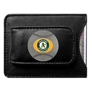 (Oakland Athletics Black Leather Money Clip with Cardholder)