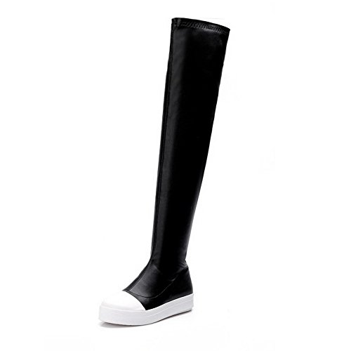Heels with Blend Low Women's PU Dichromatic Black Allhqfashion Materials Boots ZxaAqw