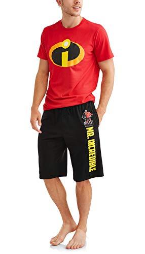 Disney Pixar Men's Incredibles 2 PC Shirt Shorts Pajama Set, Size M -