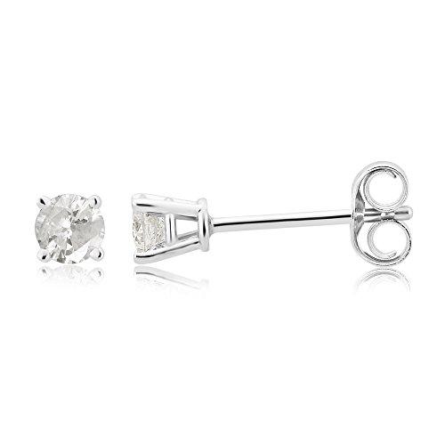 10K Gold White Diamond Solitaire Stud Earring