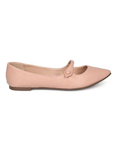 Breckelles Pointy Toe Ballet Flat - Mary Jane Flat - Slip on Flat - GI91 by Blush Leatherette 9149c