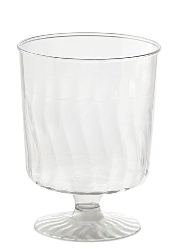 Kaya Collection 20 Pack - 8 Ounce Wine Glass - Disposable Clear Plastic Cups - Party & Wedding - Crystal-Like - Fancy Premium Heavy Duty