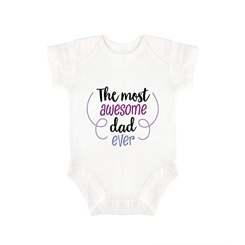 (Promini Cute Baby Onesie The Most Awesome Dad Ever Baby Bodysuit Infant One Piece Baby Romper Best Gift for Baby White)