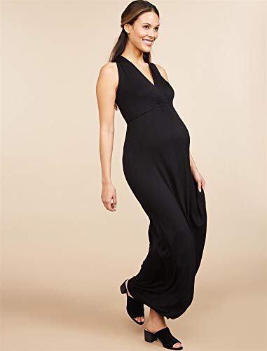 Motherhood Maternity Women's Maternity Sleeveless Surplice Maxi Dress with Empire Waist Tie, black, Large