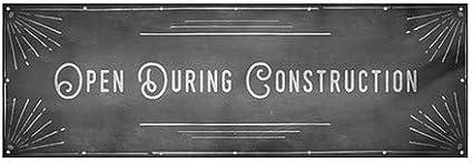CGSignLab Open During Construction Chalk Corner Wind-Resistant Outdoor Mesh Vinyl Banner 9x3