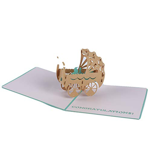 Yunzee Creative Greeting Card 3D Three-Dimensional Shape Baby Stroller Pattern Funny Baby Shower Birthday Invitation Cards,Blue