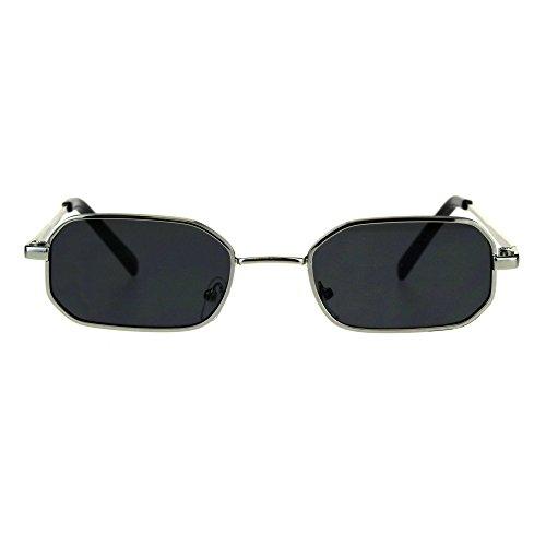 Mens Narrow Metal Rim Rectangular Hippie Pimp Sunglasses Silver Black