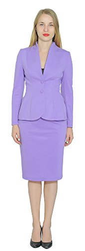 (Marycrafts Women's Formal Office Business Work Jacket Skirt Suit Set 10 Violet)