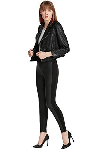 Everbellus Sexy Femme Legging Simili Cuir Fille Taille Haute Pantalon Élastique Noir
