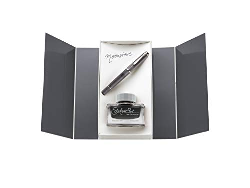 Pelikan Classic M205 Moonstone M 816946 Piston Fountain Pen with Gemstone Ink of the Year 2020 Moonstone 50 ml Gift Set