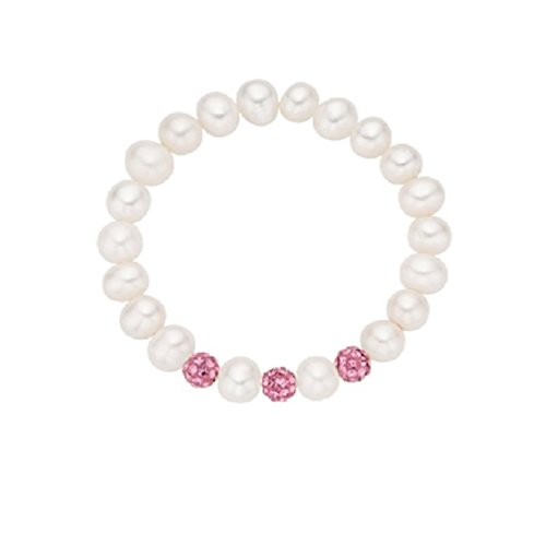 Children's and Baby White Cultured Pearl and Pink Crystals Stretch Bracelet (Stretch Bracelet Pink Crystal)