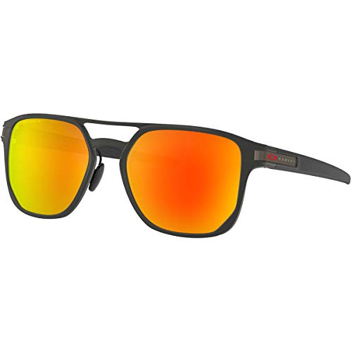 Oakley Men's Latch Alpha Sunglasses,One Size,Matte Black/Red (Red Oakley Sonnenbrillen)