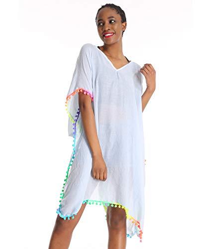 Women Floral Beach Swimsuit Cover Up Cardigan - Blue Long Chiffon Print Swimwear Beach Travel Bikini Coverup Boho Batwing Loose Tops Outwear Kimono Dress Plus Size Loose Sleeve Shawl