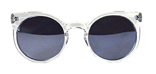 Kosha Cat Eye Rounded Frame Women Sunglasses (Clear Frame Kosha Mirrored - Cat Sunglasses Eye Rounded