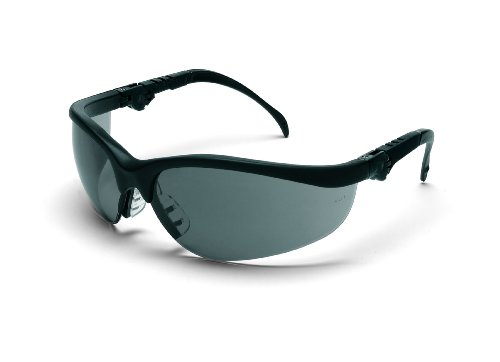 (Crews KD312 Klondike Plus Ratchet Temple Safety Glasses with Black Frame and Gray Lens, 1 Pair)
