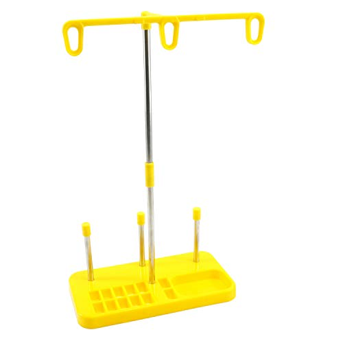 Light Weight Thread Stand - 3 Spools Holder for Domestic (Home-Base) Embroidery and Sewing Machines - Three Colors for Choices - Yellow