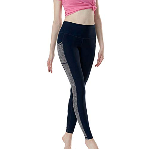 Women Yoga Leggings with Pockets,SMALLE◕‿◕ Women High Waist Running Tights Yoga Pants Tummy Control Workout Pants Navy ()