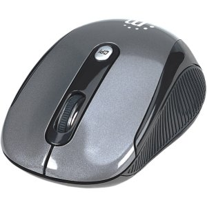Rf Mouse Silver Optical Wireless (Manhattan Wireless Optical USB Mouse, 2000 dpi, Black/Silver - 2.4 GHz RF technology offers wireless freedom with effective range up to 33'; Windows and Mac Compatible - 177795)