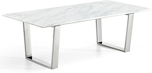 Meridian Furniture Carlton Collection Modern Contemporary Marble Top Coffee Table with Stainless Steel Base and Polished Chrome Finish, 48 W x 24 D x 16 H
