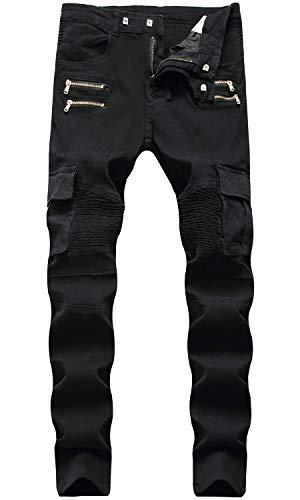 - HENGAO Men's Moto Biker Slim Fit Straight Skinny Denim Jeans, 1655 Black, W30