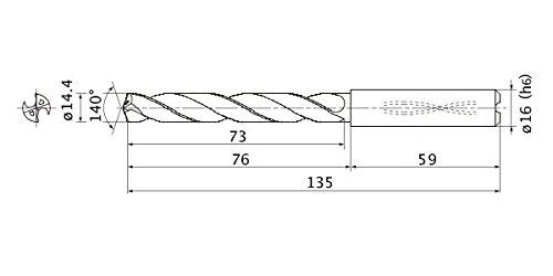 3 mm Hole Depth 16 mm Shank Dia. 2.6 mm Point Length Mitsubishi Materials MMS1440X3DB MMS Series Solid Carbide Drill Internal Coolant 14.4 mm Cutting Dia