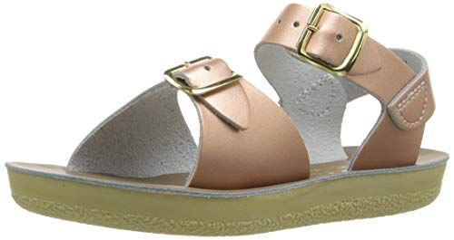 Salt Water Sandals by HOY Shoe Girls' Sun-San Surfer Flat Sandal, Rose Gold, 6 M US Toddler ()