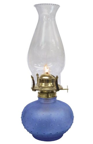 Glo Brite by 21st Century L395BL Princess Glass Oil Lamp, Frosted Blue