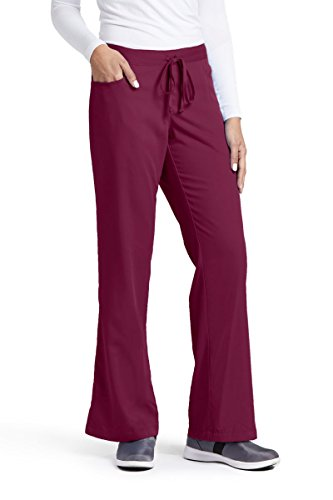 Grey's Anatomy Women's Junior-Fit Five-Pocket Drawstring Scrub Pant - X-Small - Wine