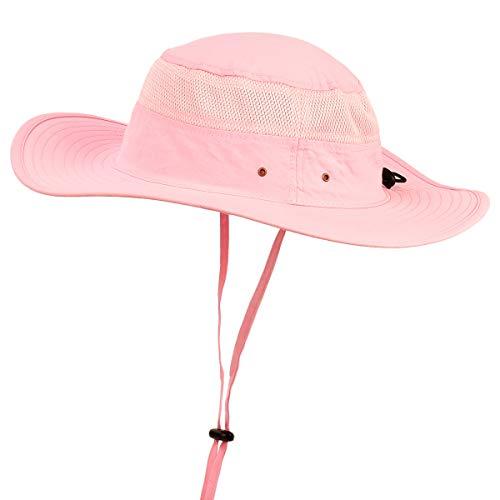 (ENJOYFUR Men Women Unisex Men's Sun Hats Safari, Wide Large Brim Fishing hat, Mesh Bucket UV UPF 50+ Protection Quick Dry Light Pink)