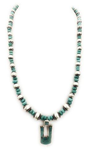 (Masha Southwestern Sterling Silver Graduated Blue Turquoise Necklace Inlay Pendant Wedding Gift - Ship Within 24 Hours)