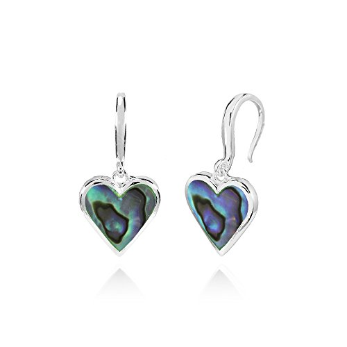 Abalone Heart Earrings - Sterling Silver Abalone Polished Heart Dangle Earrings
