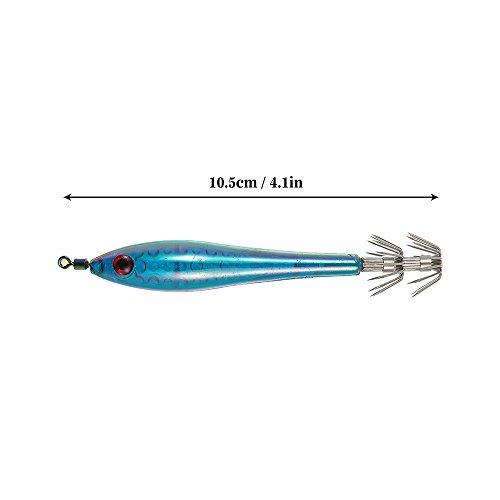 Lixada Pesca Señuelos 5pcs 10.5cm/5.5g Noctilucentes Calamar Señuelos Camarón Langostino Pesca Con Anzuelo Jibioneras azul