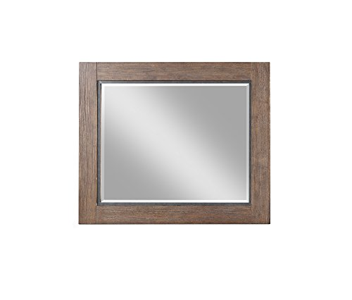 Emerald Home Furnishings Viewpoint Driftwood Gray Dresser Mirror with Wood and Metal Frame Grey/Standard//Rustic ()