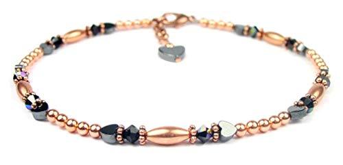 (DAMALI Red Garnet Anklets for Women, January Birthstone Jewelry, Handmade Copper Beaded Swarovski Crystal)