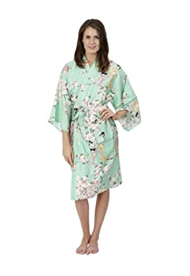 Beautiful Robes Women's Cherry Blossom & Beauty Cotton Kimono Short