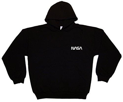 Spiffy Custom Gifts NASA Worm Logo Embroidered Hoodie Sweatshirt 5XL Black