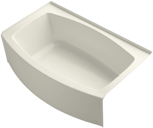 KOHLER K-1100-RA-96 Expanse Curved Integral Apron Bath with Right-Hand Drain, Biscuit