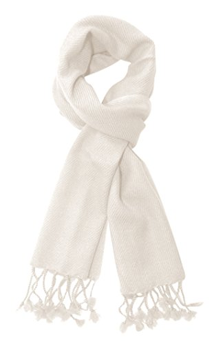 Peach Couture Unisex Best Solid Cashmere Warm & Luxurious Scarves Wrap (Off White) ()