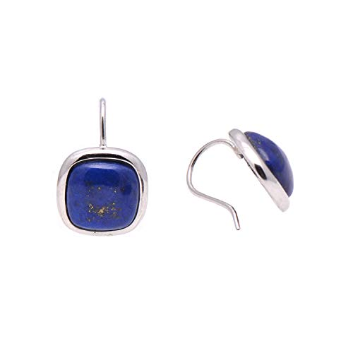 Round Square Natural Lapis Lazuli Earrings Sterling Silver Handmade Eardrop