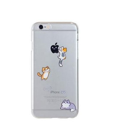 iPhone 6/6S Case,Blingy's Fun Cats Style Slim Transparent Clear Soft Rubber TPU Case for Apple iPhone 6/6S (Three - Transparent Cat