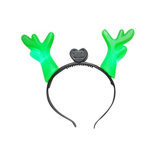 Mammoth Sales Light Up LED Reindeer Antlers Headband Costume (Green) ()