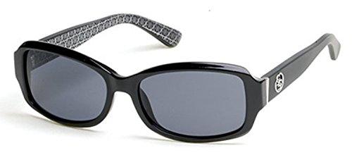 GUESS Women's Acetate Rectangle Rectangular Sunglasses, 01A, 55 - Sunglass Guess