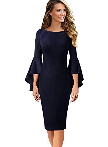 VFSHOW Womens Bell Sleeve Rib Knit Fabric Business Cocktail Sheath Dress 1865 BLU XS ()