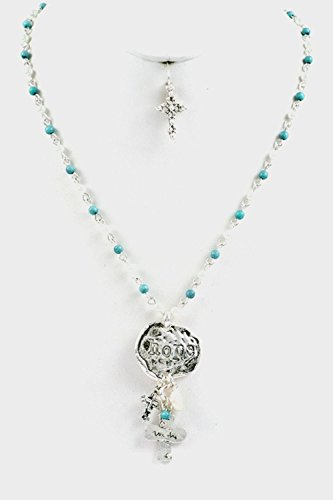 - Karmas Canvas Beads Hammered Nugget HOPE Cross Dangle Pendant Necklace Set (Burnished Silver/Turquoise)