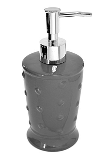 American Chateau Modern Grey Ceramic Porcelain Hobnail Dots Textured Soap Dispenser Lotion Pump