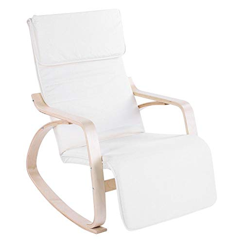 Cocoarm Relax Rocking Chair,Comfortable Rocking Lounge Adjustable Relax Chair Cushion Cover is Removable for Modern Home Office(Cream) - Rocking Back Chair Curve