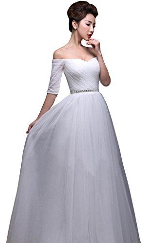 Drasawee Weiß Schlauch Kleid Weiß Damen rFz7r